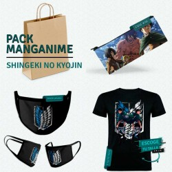 Pack: Shingeki no kyojin (estuche, mascarilla y camiseta)