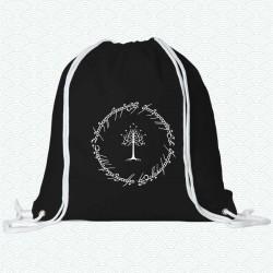 Mochila de con la inscripción del anillo del Señor de los anillos, con la imagen del árbol blanco de Gondor en el centro
